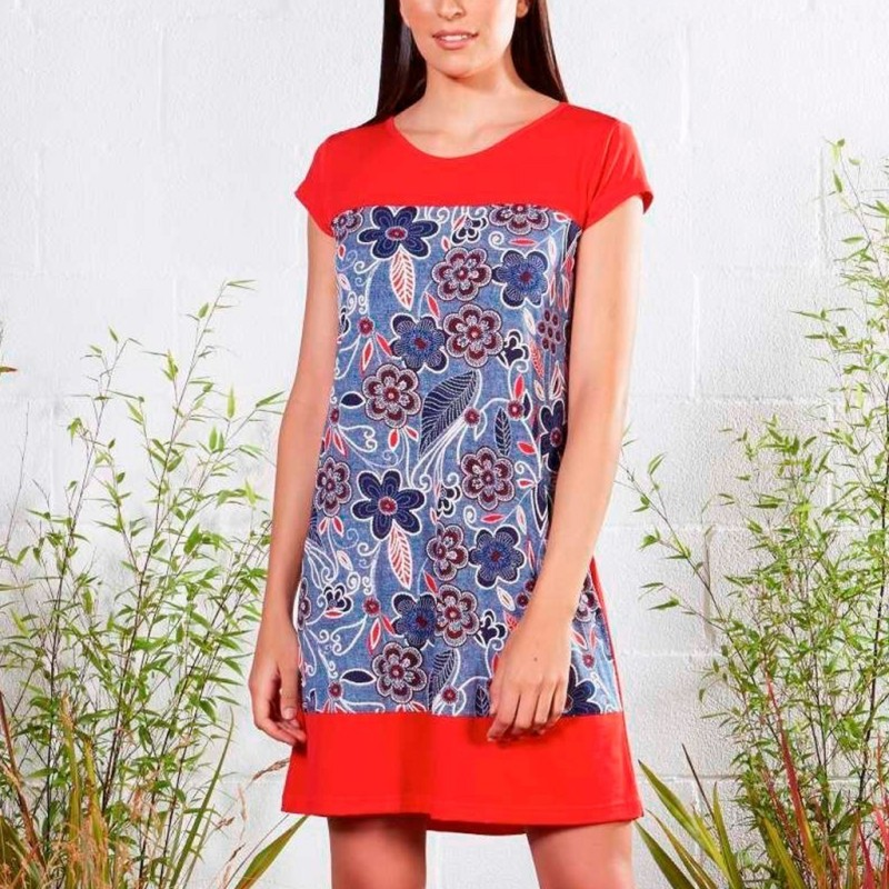 Camisola mujer BELTY manga navy flores contraste rojo